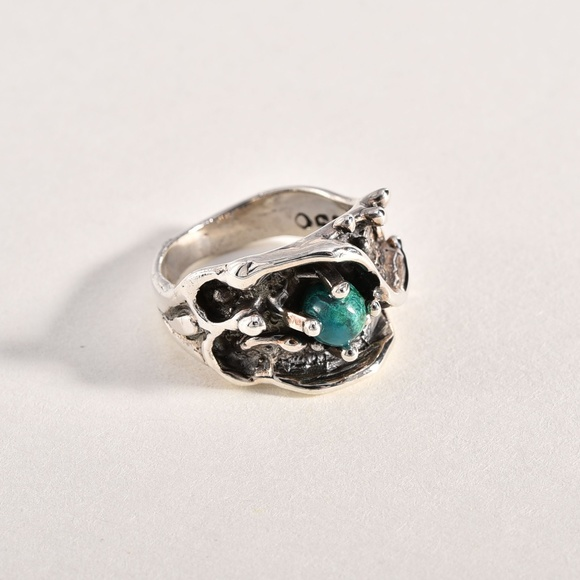 Sterling Silver Unisex Simulated Turquoise Aztec Ring